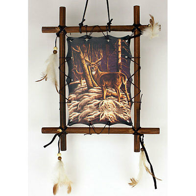 "11""x 9"" Deer Buck Hunting Dream Catcher Wall Hang Decor Feathers Framed Beads"