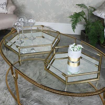 Pair of antique gold hexagonal mirrored cocktail display trays vintage chic gift
