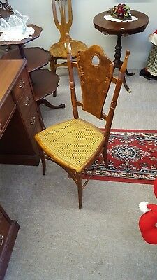 1800s Fancy Victorian Ladies Side Chair With Hand Woven Wicker Seat restored