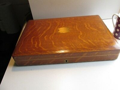 oak and brass cutlery box c1900       nice quality    1.9 kilo