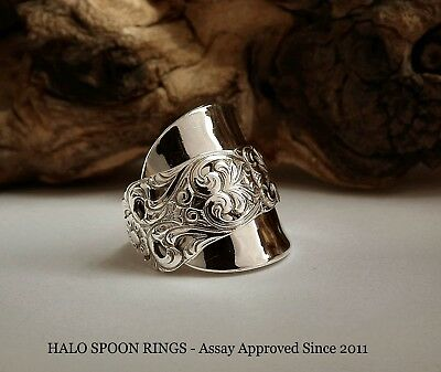 Chunky And Unique Ladies Norwegian Silver  Spoon Ring Valdres Pattern Circa 1910