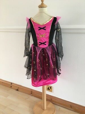 Girls Halloween Fancy Dress Costume Age 7-8 Years NEON Witch Princess Outfit
