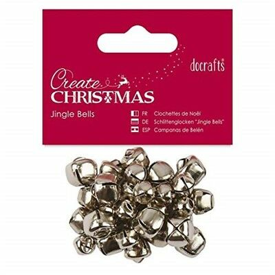 Papermania Create Christmas Silver Jingle Bells - Assorted Sizes (30pcs) -