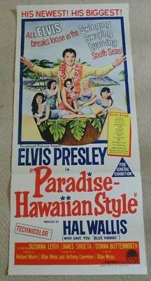 PARADISE HAWAIIAN STYLE ORIGINAL 1966 CINEMA DAYBILL MOVIE POSTER Elvis Presley
