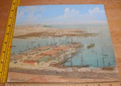 """Lillian A Hunter water color painting 1895 Italy 9.5x8.5"""" VINTAGE"""