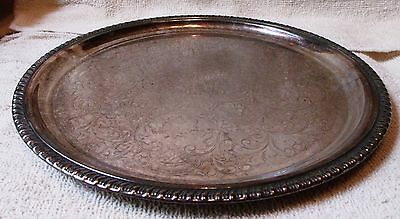 """Vintage Sterling Silver Plated Platter--12 1/2"""" Wide--Very Nice--Great Patina"""