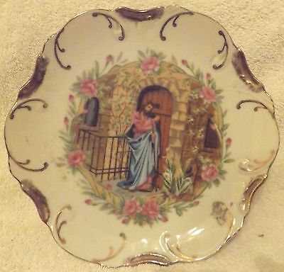 """""""Jesus Knocking On The Door"""" 18K Gold Trim Collector Plate-8"""" Tall--Great Patina"""