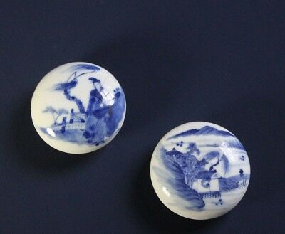 Pair Antique 19thC or Earlier Chinese Blue & White Porcelain Paste Boxes  Signed
