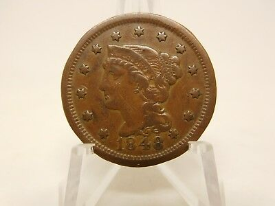 1848 US Large Cent Very Fine Rim Dent