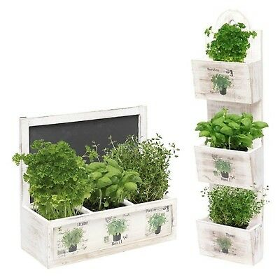 Herb Wooden Shabby Chic Seeds Planter Window Box Garden Plant Pot Indoor Gift
