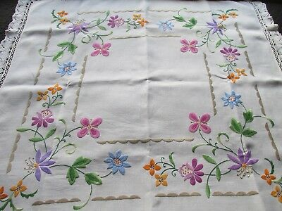 Vintage Hand Embroidered Table Cloth-PRETTY RAISED FLORAL'S WITH LACE EDGING