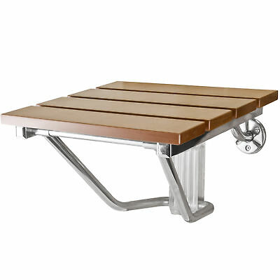 Folding Shower Seat Bench Wall Mount Solid Wood Construction Bath Seat New