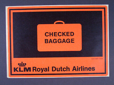 KLM - Aufkleber - Checked Baggage - ca 1994 - Royal Dutch Airlines - älter