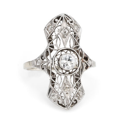 Antique Deco Diamond Filigree Ring Vintage 14k White Gold Estate Fine Jewelry