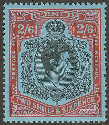 Bermuda 1943 KGVI 2sh6d Black and Red on Pale Blue p14 Mint SG117b cat £22