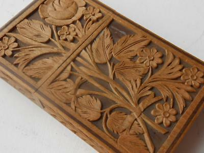 Super Vintage Intricately Carved Wooden Calling Card Case Swiss