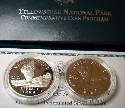 1999 Key Low Mintage Yellowstone National Park Commemorative Silver Dollar Set