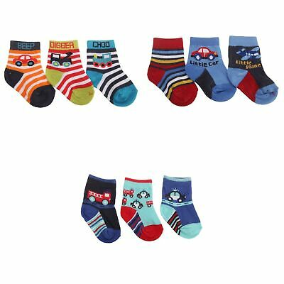 Baby Boys Vehicle Patterned Socks (Pack Of 3) (BABY1366)