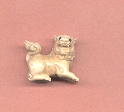 Foo Dog  Hand Carved Japanese Ojime Bead Miniature Figurine 487