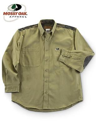MOSSY OAK Button Down LONG SLEEVE Camo Accent SHOOTERS SHIRT *Olive Drab Green