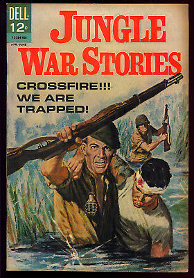 Jungle War Stories #7 Very Nice Painted Cover Dell File Copy Comic 1964 FN+
