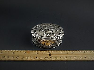"Antique Vintage German 800 Silver Hanau Type Repousse Box 3"" Very Beautiful"