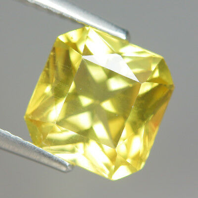 Comely 3.20 Ct Natural Unheated Yellow APATITE Square (1 Pcs) Gem @ See Vdo !!
