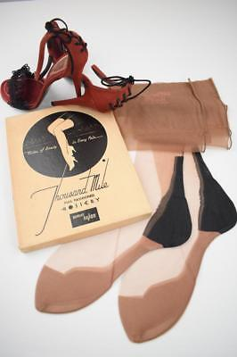 SASSY 3 Pr THOUSAND MILE 51/15 JEUNESSE BLACK HEEL Vintage Nylon Stockings 9/31""