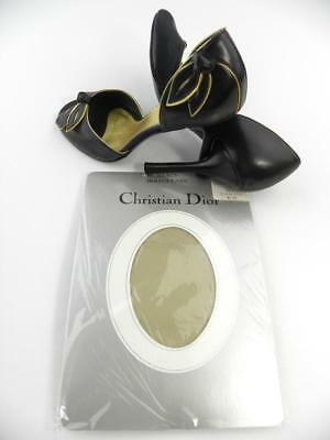 "SASSY 2 Pr CHRISTIAN DIOR SANDALFOOT ASH Vintage Nylon Stockings  9.5/33-36"" L"