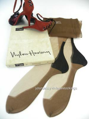 SASSY 3 Pr MAGNETIC BROWN 51/15 BLACK HEEL FF Vintage Nylon Stockings  10/34""