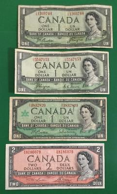 1954 $1 Canada Set of 3 with 1 DEVIL's Hairdo! & 1954 $2 RED Deuce Canada!