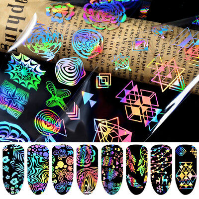 8Sheets Nail Art Starry Foils Holographic Transfer Stickers Decals Decor DIY Set
