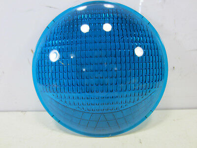 "Vintage 8 3/8"" Corning Blue Glass Traffic/Railroad Lens Type T"