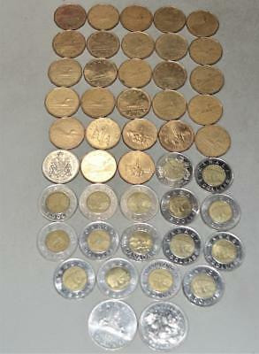 Canada Mostly Loonies and Toonies - Face Value = $61.50.