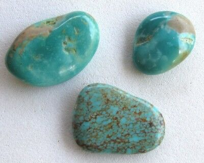 3pc Turquoise Tumbled Nuggets LOT 100% Natural Polished Gemstones Kingman AZ USA