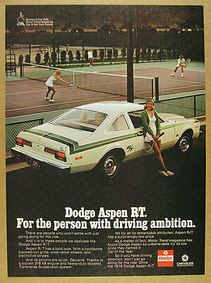 1976 Dodge Aspen R/T RT white & green car color photo vintage print Ad
