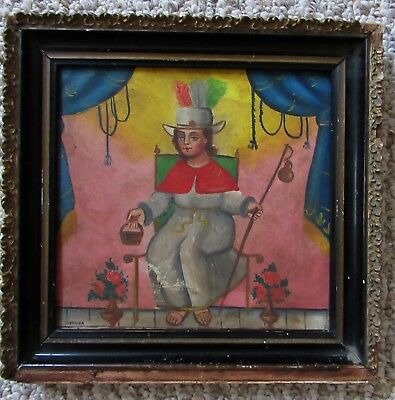 Antique Mexican Hp Tin Retablo Santo Nino De Atocha- Signed Ventura - Wood Frame