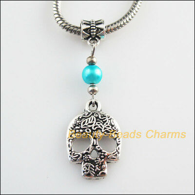 2Pcs Tibetan Silver Tone Skull Charms Glass Bail Beads Fit Bracelets 16x48mm