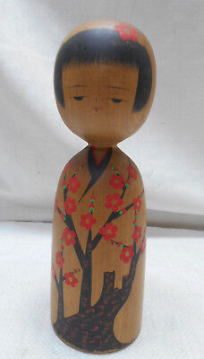 Vintage Kokeshi Creative Style Wooden Japanese Doll Handpainted Red Blossom #515