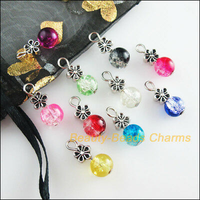 10Pcs Flower Tibetan Silver Tone Mixed Round Glass Beads Charms Pendants 8x19mm