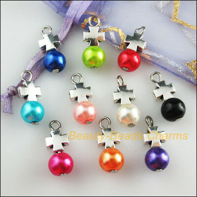 10Pcs Cross Tibetan Silver Tone Mixed Round Glass Beads Charms Pendants 8x20mm
