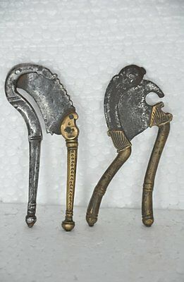 2 Pc Old Brass & Iron Small Engraved Handcrafted Betel Nut Cutter / Sarota