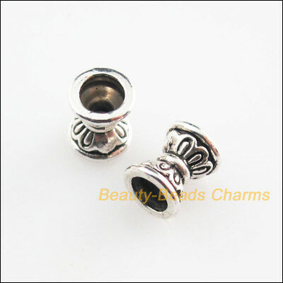 40Pcs Tibetan Silver Tone Flower Cone Spacer Beads Charms 6.5mm