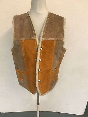 """Suede Leather Waistcoat in Brown Patch Armpit 21"""" Length 24"""" (nc65.1)"""