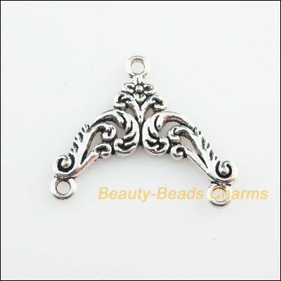 4Pcs Tibetan Silver Tone Triangle Flower Charms Connectors 23x27mm