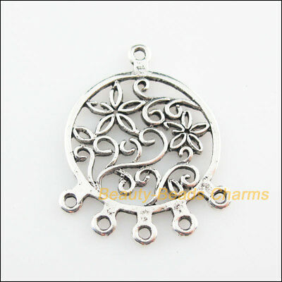 4Pcs Tibetan Silver Tone Round Flower Charms Connectors 27x35mm