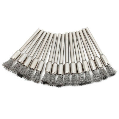 10pcs 3mm Stainless Steel Mini Wire Wheel Brush Cup Tool Shank For Dremel Rotary