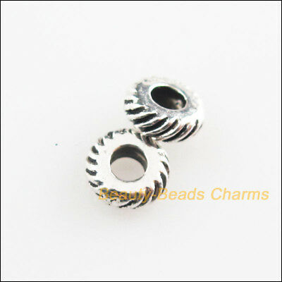 25Pcs Tibetan Silver Tone Wheel Round Spacer Beads Charms 5.5mm