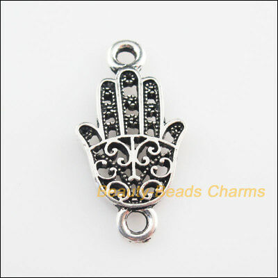 2Pcs Tibetan Silver Tone Flower Hand Palm Charms Connectors 16.5x32mm