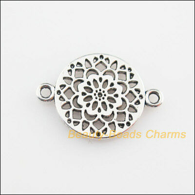16Pcs Tibetan Silver Tone Round Flower Charms Connectors 14x20mm